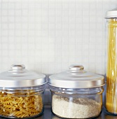 Pasta and rice in storage jars