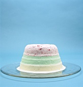 Three-coloured ice cream cake