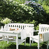 White garden furniture