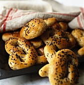 Freshly-baked pretzels with black sesame seeds