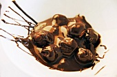 Hazelnuts in melted chocolate (setting)