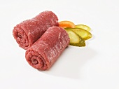 Two pieces of raw beef (for beef roulades)