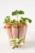 Ham rolls with parsley