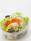 Salad leaves with peppers, cucumber & sprouts in plastic container