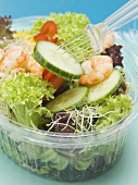Mixed salad leaves with prawns and vegetables to take away