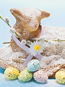 Baked Easter lamb with pussy willow and Easter eggs (detail)