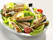 Salad with strips of chicken breast