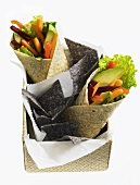 Vegetable wraps and tortilla chips