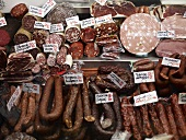Sausages on a market stall