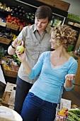 Couple in supermarket (Sweden)
