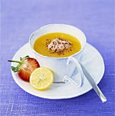 Orange soup with chocolate cream