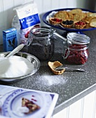 Blueberries, cranberries, baking ingredients and tartlets