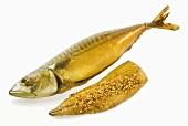 Whole smoked mackerel and seasoned, smoked fillet