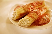 Cheese Filled Manicotti with Tomato Sauce