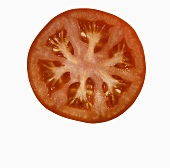 Tomato Slice on White Background