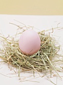 Pink Easter egg in Easter nest