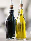 Balsamic vinegar and olive oil in bottles