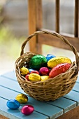 Chocolate Easter eggs in coloured foil in basket
