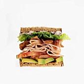 Turkey Sandwich with Bacon, Tomato and Avocado