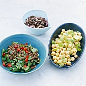 Lentil salads and chick-pea salad