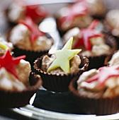 Chocolates with marzipan stars