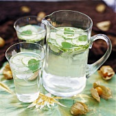 Refreshing water with slices of cucumber and mint