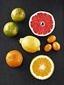 Various types of citrus fruit