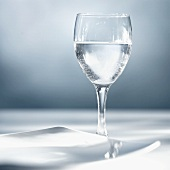 A glass of water with plate
