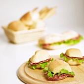 Salami and lettuce panini