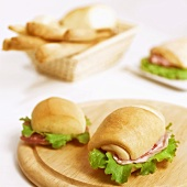 Bread rolls filled with pancetta and salami