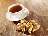 A cup of tea with cantuccini
