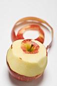 Gala apple, partly peeled