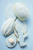 Assorted Easter biscuits with blue icing and sugar eggs