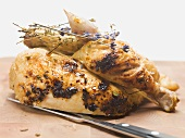 Half a roast chicken with lavender
