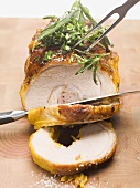 Stuffed breast of veal, partially carved