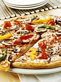 Pepper, onion and mushroom pizza