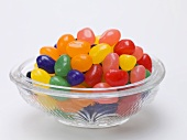 Assorted jelly beans in glass dish