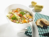 Colourful vegetable stew with sausages