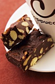 Chocolate nut slices for coffee