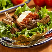 Roast Beef Tostada with Salsa and Sour Cream