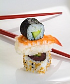Maki, nigiri and an inside-out roll