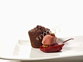 Pink pepper chocolate tart with tamarillos and guava sorbet