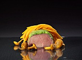 Veal fillet with water cress and carrot spaghettini