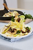 Tagliatelle with carp and lime curry