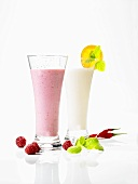 Honey and raspberry shake and a honey and buttermilk drink with chilli