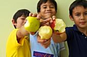 Boys eating apples
