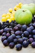Damsons, blackberries, apples and mirabelles