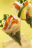 Lobster cocktails with caviar