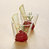 Beetroot mousse in two glasses