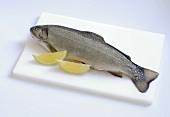 A brown charr with lemon wedges on chopping board